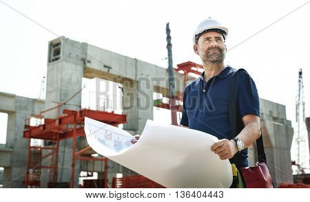 Architect Outdoors Working Construction Site Concept