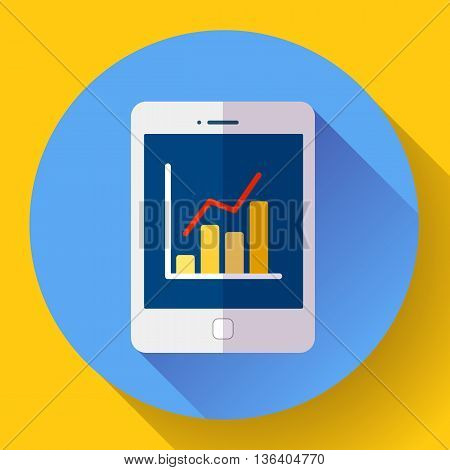 tablet computer screen icon With diagram vector Flat 2.0 design style.