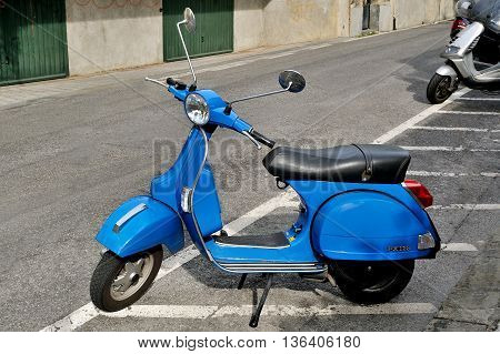 Genova, Italy - August 18, 2015: vespa 125 PX iconic Italian scooter.