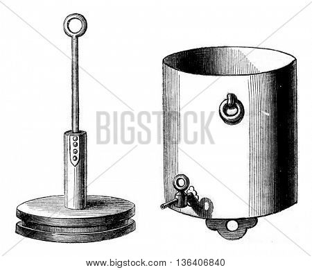 Glass cylinder details that attracts and its piston, vintage engraved illustration. Magasin Pittoresque 1852.