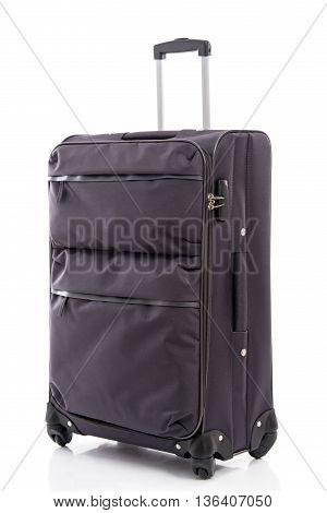 Black fabric travel bag on white background isolated