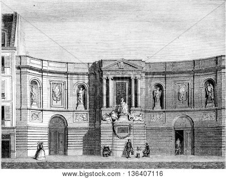 Fountain de Grenelle Street, vintage engraved illustration. Magasin Pittoresque 1852.