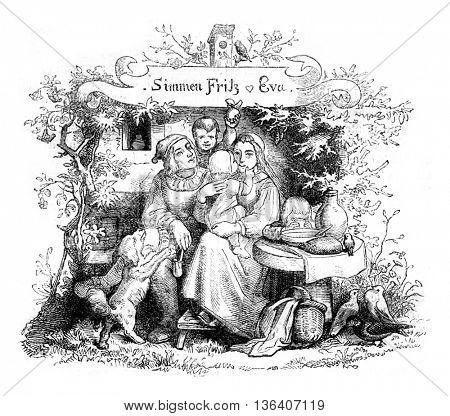 Simmen Fritz & Eva, vintage engraved illustration. Magasin Pittoresque 1852.