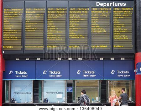 Arrivals And Departures Timetable In Liverpool