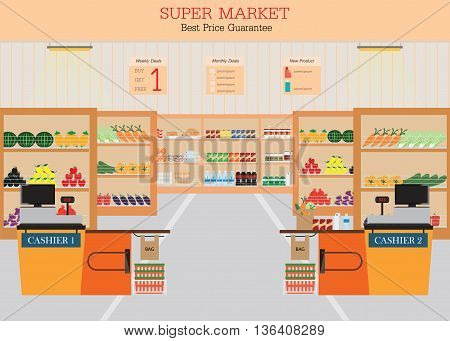 Supermarket with fresh food on shelves and counter cashier Flat vector illustration.
