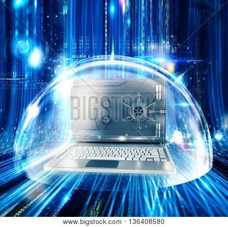 Computer with screen as a safe inside a bubble 3d rendering