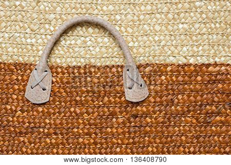 Closeup of handle basket woven for handmade