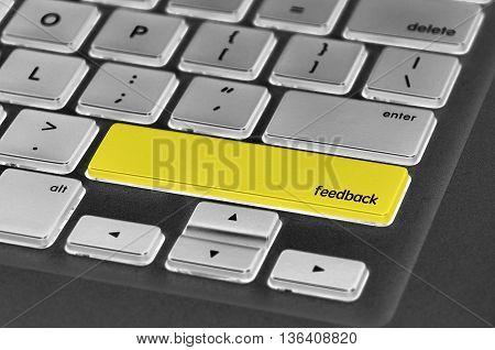 The Computer Keyboard Button Written Word Feedback
