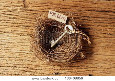 bird's nest on old wood texture with tag paper and wording for rentold key in bird's nest