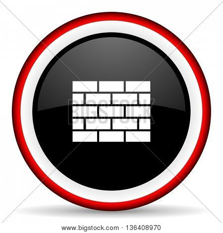 firewall round glossy icon, modern design web element
