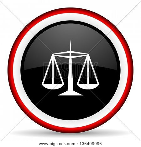 justice round glossy icon, modern design web element