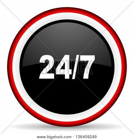 24/7 round glossy icon, modern design web element