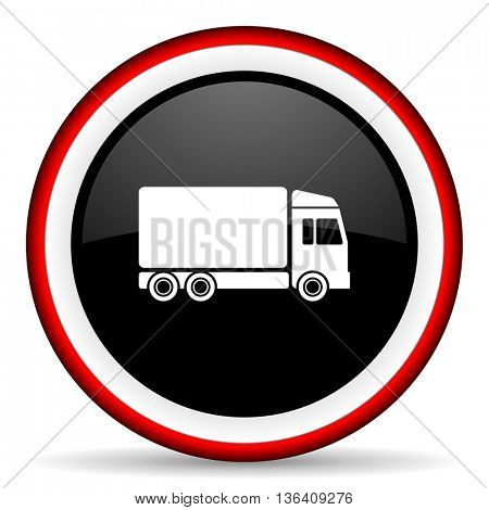 delivery round glossy icon, modern design web element