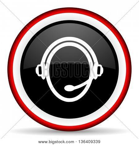 customer service round glossy icon, modern design web element