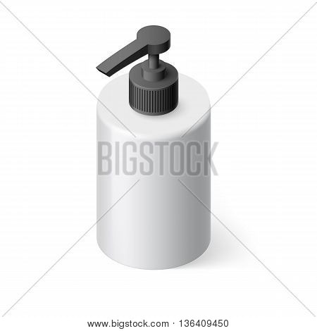 Isometric White Bottle with Liquid Soap without Label