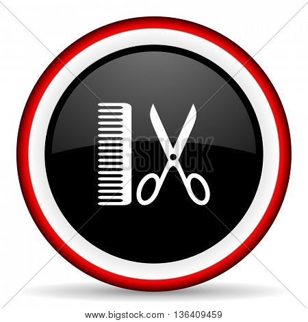 barber round glossy icon, modern design web element