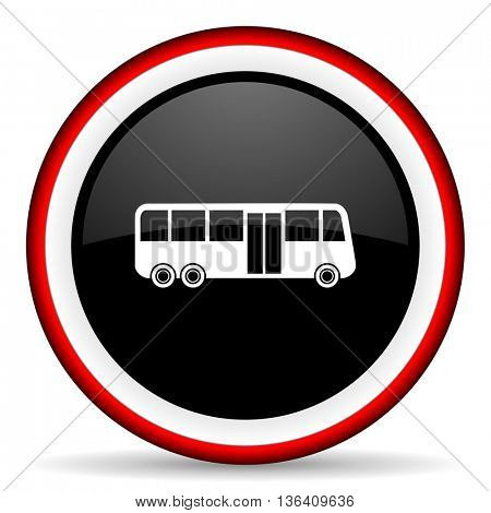 bus round glossy icon, modern design web element