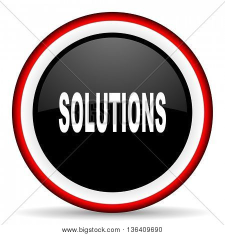 solutions round glossy icon, modern design web element