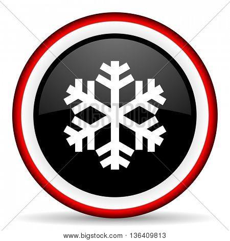 snow round glossy icon, modern design web element