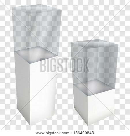 Empty glass showcase for exhibit. 3D Vector illustration on transparent white background. Trade show booth white and blank pedestal with glass box for expo design.