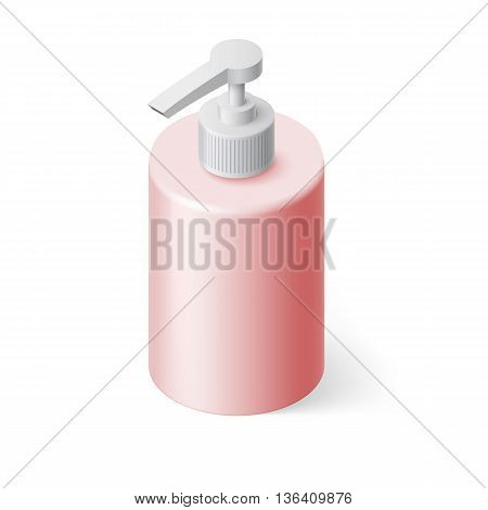 Isometric Pink Bottle with Liquid Soap without Label