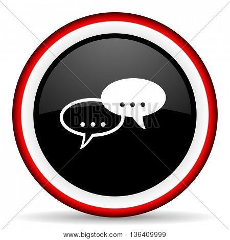 forum round glossy icon, modern design web element