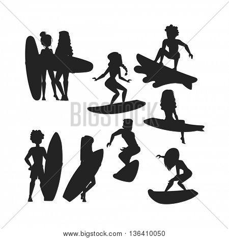 Surfing people vector set.