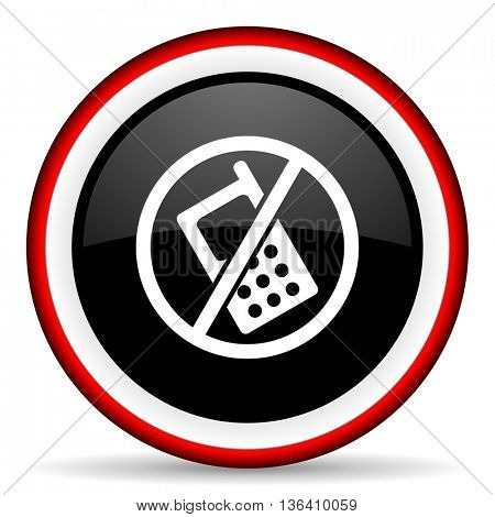 no phone round glossy icon, modern design web element