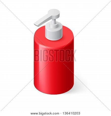 Isometric Red Bottle with Liquid Soap without Label