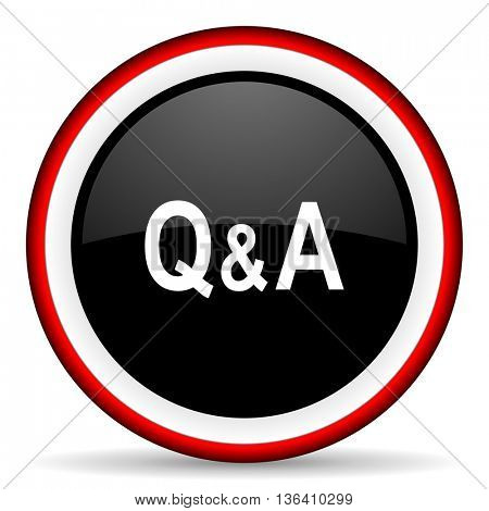 question answer round glossy icon, modern design web element