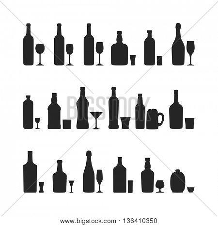 Set of different alcohol drink bottles
