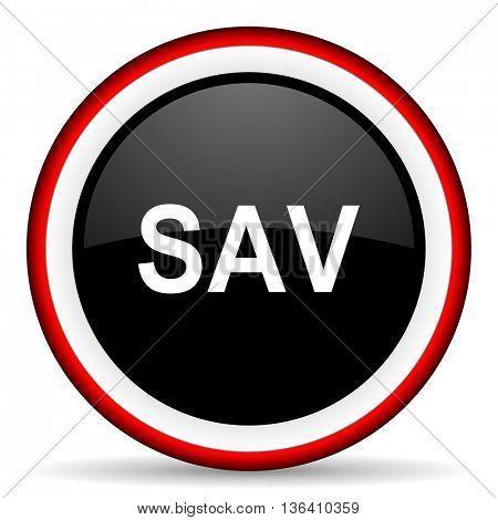 sav round glossy icon, modern design web element