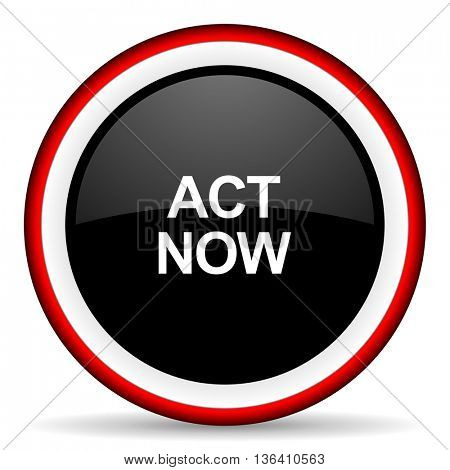 act now round glossy icon, modern design web element