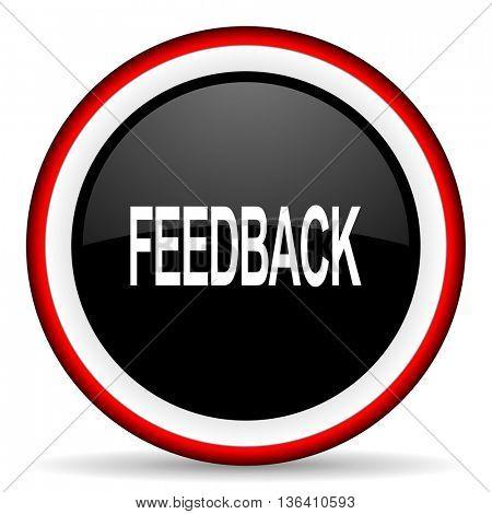 feedback round glossy icon, modern design web element