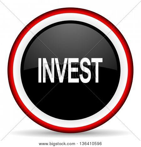 nvest round glossy icon, modern design web element