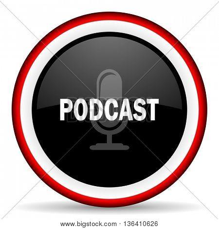 podcast round glossy icon, modern design web element