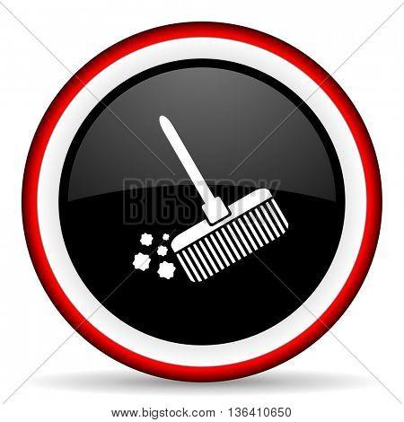 broom round glossy icon, modern design web element