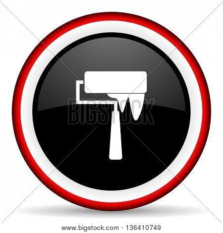brush round glossy icon, modern design web element