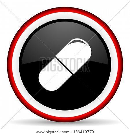 drugs round glossy icon, modern design web element