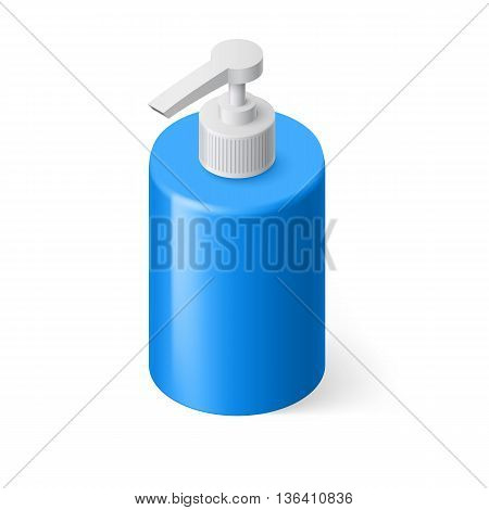 Isometric Blue Bottle with Liquid Soap without Label