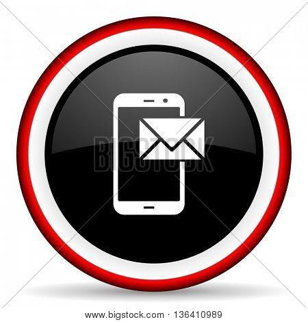 mail round glossy icon, modern design web element