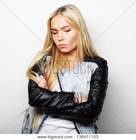 closeup emotional portrait sad woman