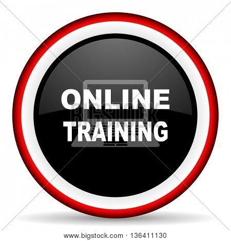 online training round glossy icon, modern design web element
