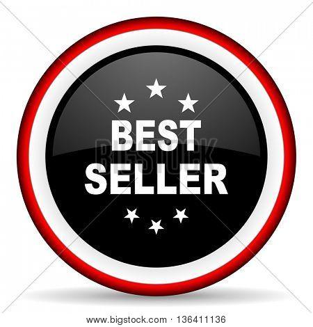 best seller round glossy icon, modern design web element