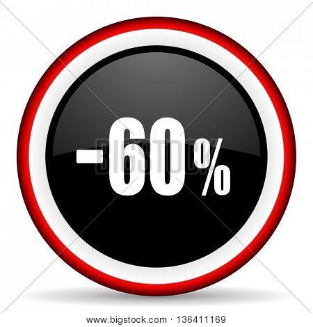 60 percent sale retail round glossy icon, modern design web element