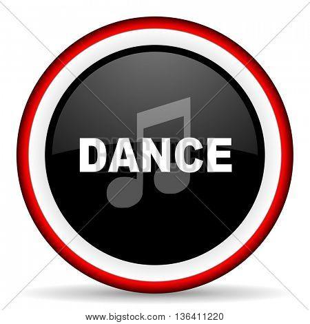 dance music round glossy icon, modern design web element