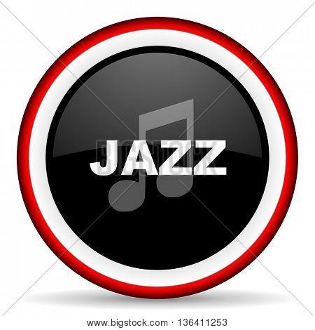 jazz music round glossy icon, modern design web element