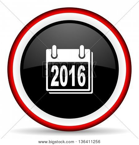 new year 2016 round glossy icon, modern design web element