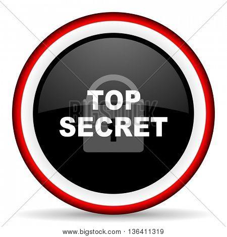 top seret round glossy icon, modern design web element