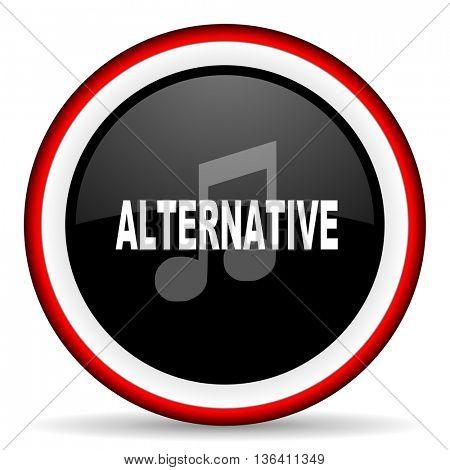 alternative music round glossy icon, modern design web element